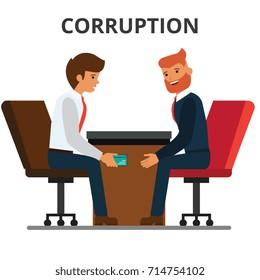 Businessman giving bribe money. Corruption, bribery. venality, kickback. Corrupted bureaucracy. Flat style vector illustration isolated on white background.