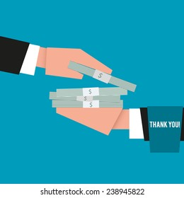 Businessman giving cash to another person, who thanks for money, close-up, vector illustration