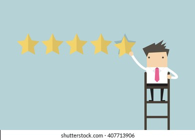 Businessman giving five star rating vector