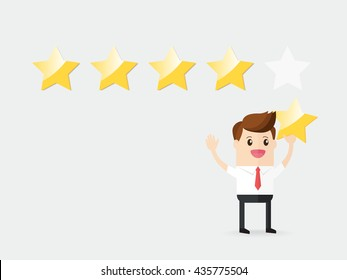businessman giving five star superior rating