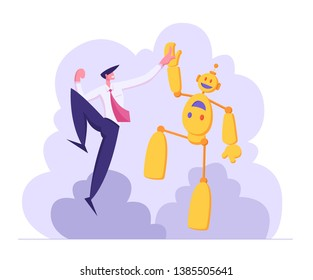Businessman Giving High Five to Robot. Artificial Intelligence Technology Evolution Concept. Man and Droid Handshaking Partnership Cooperation. Vector flat illustration