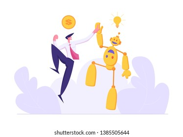 Businessman Giving High Five to Robot. Artificial Intelligence Technology Evolution Concept. Man and Droid Handshaking Partnership Cooperation. Money for Good Idea. Vector flat illustration