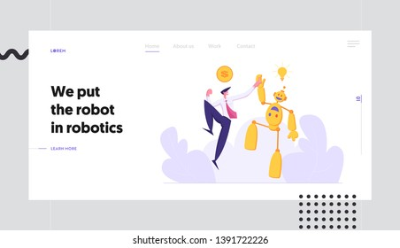 Businessman Giving High Five to Robot Landing Page Template. Artificial Intelligence Technology Evolution Concept. Man and Droid Handshaking Partnership Cooperation. Money Idea Banner Website. Vector