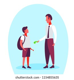 Businessman giving money dollar banknote his school boy pocket expenses budget concept full length cartoon character flat vector illustration