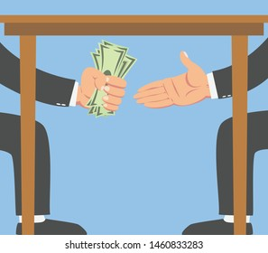 Businessman giving money under a table to another businessman isolated on blue background.vector illustration.