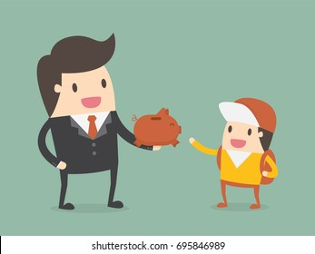 Businessman Giving Piggy Bank To His Child. Business Concept Illustration.