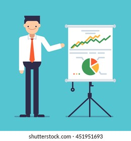 Businessman giving a speech showing sales statistics graph on a whiteboard. Smiling young man personage. Male making a presentation in front of whiteboard with infographics. Vector flat illustration.