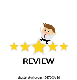 Businessman with giving the star for Customer review rate concept