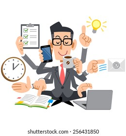 Businessman with glasses, multitasking
