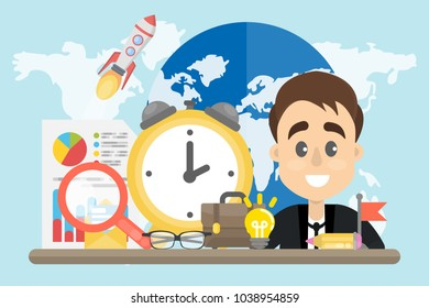 Businessman global work outlook with map, magnifying glass and alarm clock.