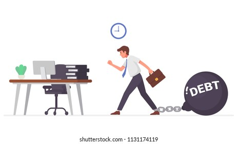 Businessman go to do work with chained his big metal ball debt. Debt settlement concept vector illustration