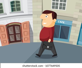 Businessman goes to the interview. Vector cartoon illustration.