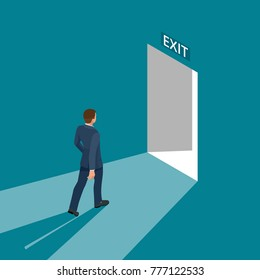 Businessman going exit door sign, emergency. Business solution or exit strategy concept. Leaving the office building. Isometric vector illustration