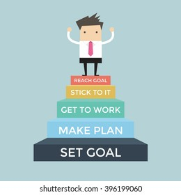 Businessman going up to success, Set and reach goal concept