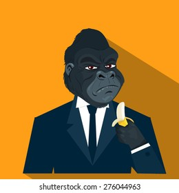 businessman gorilla in suit, vector