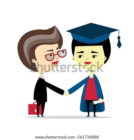 A Businessman And Graduate Handshake Vector Illustration Flat Design Concept Of Education