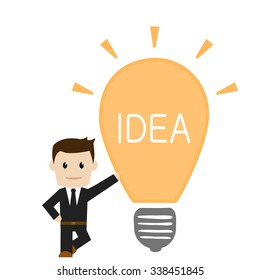Businessman with great idea. Vector illustration.