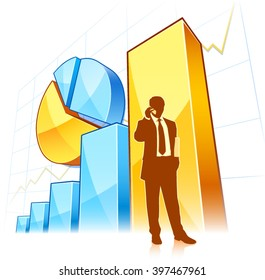 Businessman with growing chart