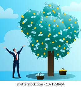 The businessman grows up a big monetary tree, waters, drips and rejoices. The person invests in the business. Successful start-up. Concept of business situation. Flat vector illustration clip art.