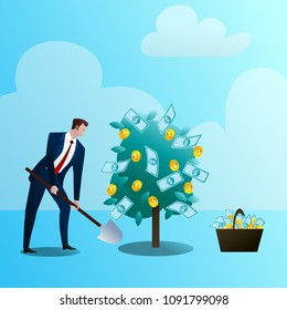The businessman grows up a media monetary tree, drips. The person invests in the business. Successful start-up. Concept of business situation. Flat design vector illustration clip art.