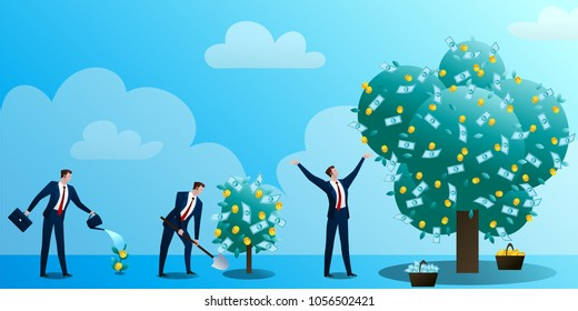 The businessman grows up a monetary tree, waters, drips and rejoices. The person invests in the business. Successful start-up. Concept of business situation. Flat design vector illustration clip art.
