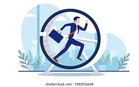 Businessman in hamster wheel - Male person running and getting nowhere, doing meaningless work and unnecessary stress concept. Vector illustration with white background
