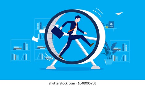 Businessman in hamster wheel - Man working hard in meaningless job, feeling useless, stressed and having no progress. Stuck in rut concept. Vector illustration.