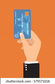 Businessman hand with blue credit card for payment on orange background Vector illustration business concept design.