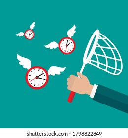 Businessman hand with butterfly net catches flying clock with wings. Hunt, chase time. Achieve goals, financial success, business income concept. Stop watch, limited offer, deedline, lack of time.
