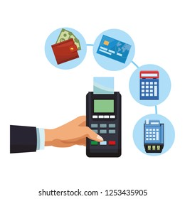 businessman hand with card reader and eletronic payments