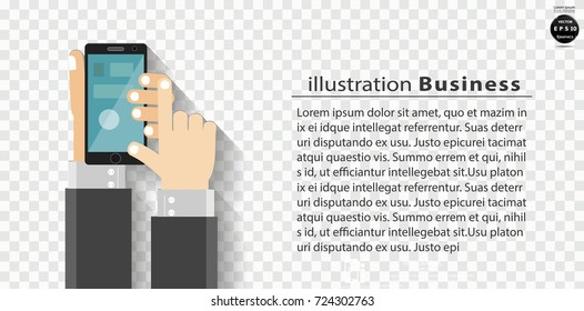 Businessman Hand and  Cellphone - modern Idea and Concept Vector illustration Business Infographic template with icon,background square.
