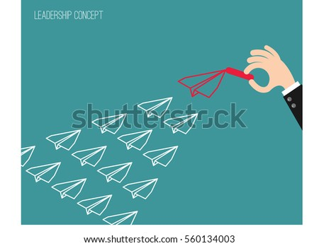 "Businessman hand chalk drawing ""Red"" Airplane, Leadership concept, Business Concept, Flat style vector illustration EPS 10."