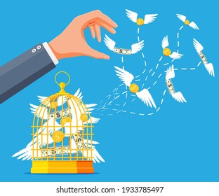 Businessman hand chasing money and cage. Dollar banknotes and gold coins with wings in birdcage. Concept of success career growth. Achievement and goal. Flat vector illustration