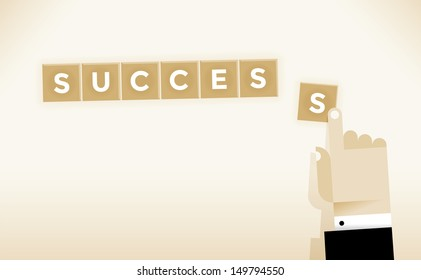 Businessman hand creating Success word Idea - Creating Success