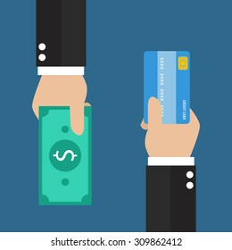 Businessman hand with credit card and cash back for you. Means of payment