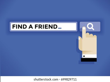 Businessman hand cursor icon finding a friend in internet. Idea - Business friendship, online relationships and communications, social networking (Facebook etc.), solitude and loneliness etc.