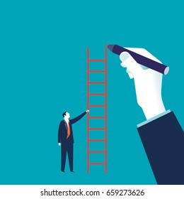 Businessman hand drawing a ladder. Concept business vector illustration