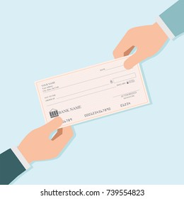 Businessman hand giving blank bank checks or che-que book to other person , vector illustration.
