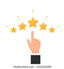 Businessman hand giving five star rating, Feedback concept vector illustration