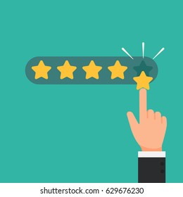 Businessman hand giving five star rating good feedback concept vector illustration flat style