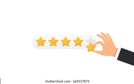 Businessman hand giving five star rating, Feedback concept vector illustration flat style