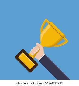 Businessman hand hold championship trophy flat design vector illustration