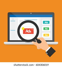 Businessman hand hold a magnifying glass for seeing an advertising on social media website.Vector illustration social ads digital marketing concept.