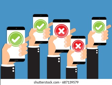 Businessman hand hold with mobile phone with feedback right and wrong online survey and checklist. Cartoon flat vector illustration business online network concept.