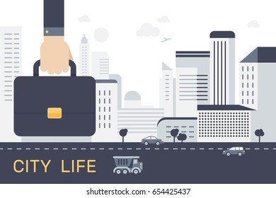 Businessman hand holding briefcase. City in flat style. Urban landscape. Vector illustration business concept design