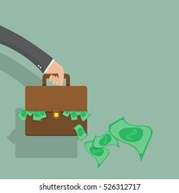 Businessman hand holding briefcase with money,flat design,vector illustration