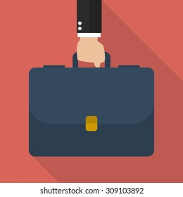 Businessman hand holding briefcase. vector illustration