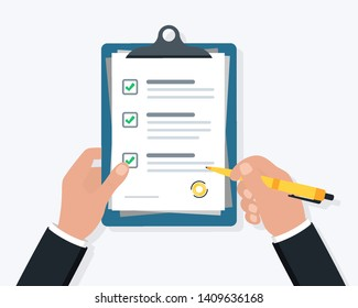 Businessman hand holding clipboard checklist with pen. Hand signing document.
