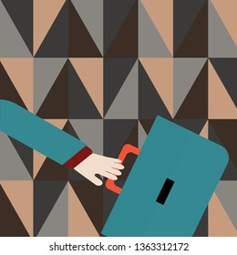 Businessman Hand Holding Colorful Briefcase and Arm Swayed Farther Back is In A Hurry. Creative Background Idea for New Product Advertisement and Presentation for Time Management.