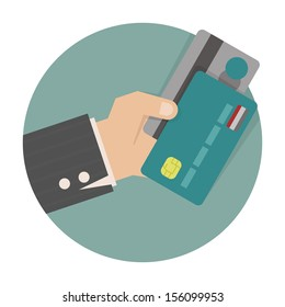 Businessman hand holding credit card , eps10 vector format